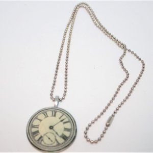 SALE Old Clock Watch Face Pendant Chain Necklace